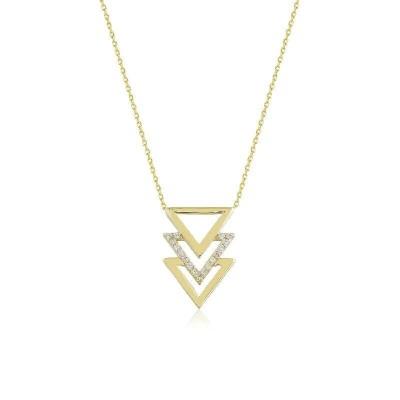 Tria Üçgen Geomerik Şekilli Sarı Altın Kolye